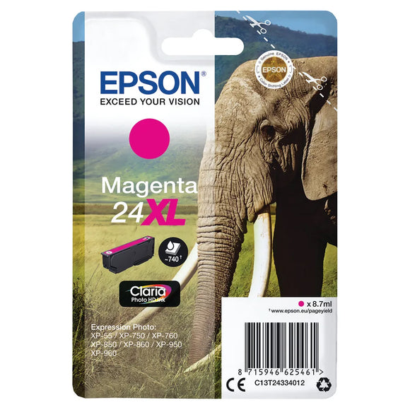 Genuine Epson 24XL, Elephant Claria Photo HD Magenta Ink Cartridge, T2433, T243340