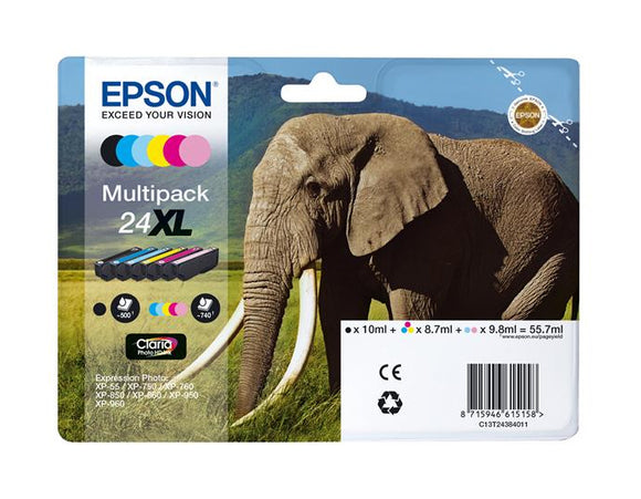 Genuine Epson 24XL, Multipack Elephant HD Ink Cartridges, T2438, C13T24384010