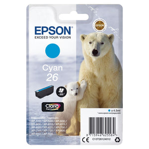 Genuine Epson 26, Polar Bear Claria Premium Cyan Ink Cartridge, T2612, C13T26124012