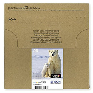 Genuine Epson 26, Multipack Polar Bear Claria Premium Ink Cartridges, T2616, T261645