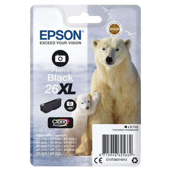 Epson 26XL, Polar Bear Claria Premium Photo Black Ink Cartridge, T2631, T263140
