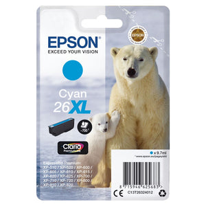 Genuine Epson 26XL, Polar Bear Claria Premium Cyan Ink Cartridge, T2632, T263240
