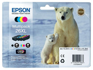 Genuine Epson 26XL, Polar Bear Multipack Claria Premium Ink Cartridges T2636, T263640