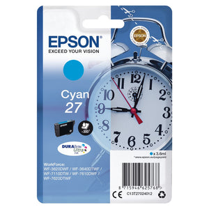 Genuine Epson 27, Alarm Clock Cyan Ink jet Printer Cartridges, T2702, T270240