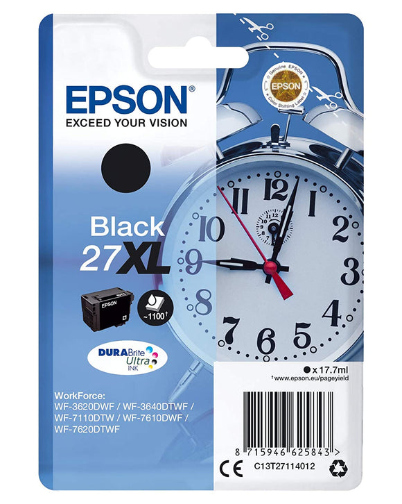 Genuine Epson 27XL T2711 Alarm Clock Black Ink jet Printer Cartridges, T271140