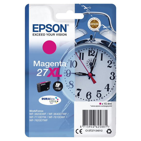 Genuine Epson 27XL, Alarm Clock Magenta Ink Cartridge, T2713, C13T27134012