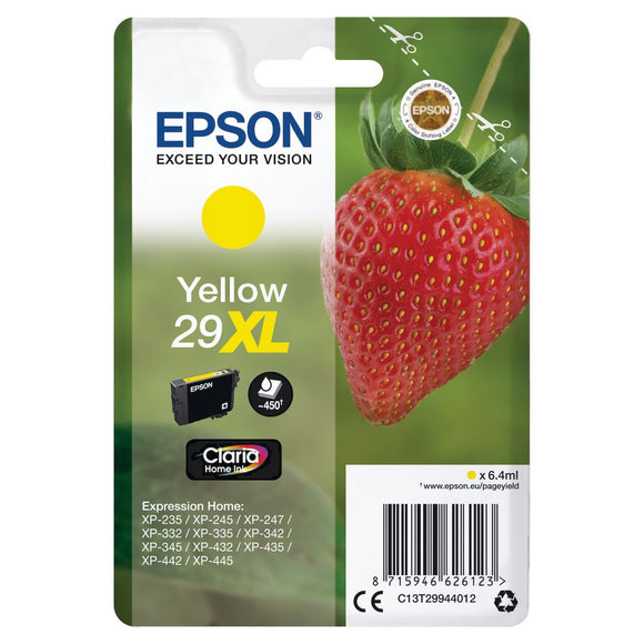 Epson 29XL, Strawberry Claria Home Yellow Ink jet Printer Cartridge, T2994, T299440