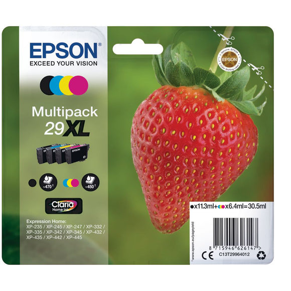 Genuine Epson 29XL, Strawberry Claria Home Multipack Ink Cartridges, T2996, T299640
