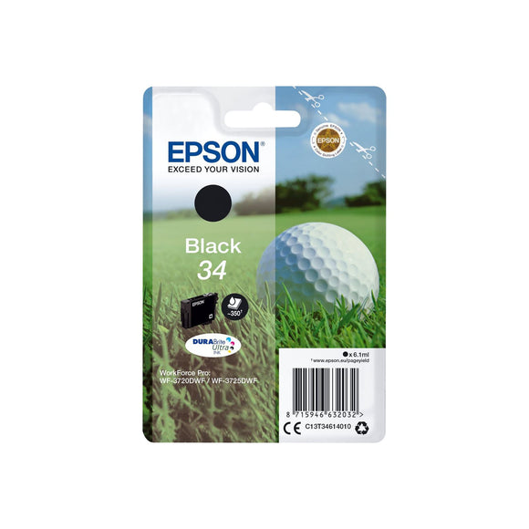 Genuine Epson 34, Golf Ball Black Ink jet Print Cartridge, T3461, C13T34614012