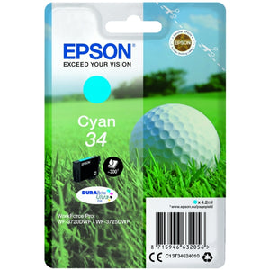Genuine Epson 34, Golf Ball Cyan Ink jet Printer Cartridge, T3462, C13T34624010