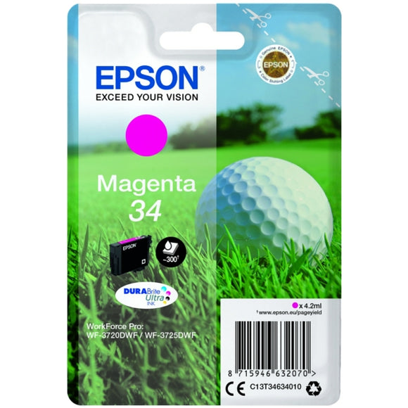 Genuine Epson 34, Golf Ball Magenta Ink jet Printer Cartridge, T3463, C13T34634010