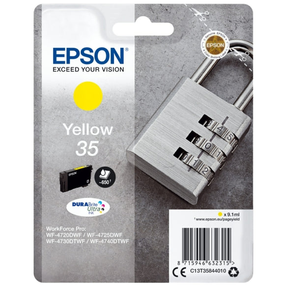 Genuine Epson 35 Padlock Yellow Ink jet Print Cartridge, T3584 C13T35844010