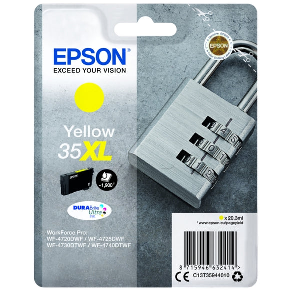 Genuine Epson 35XL Padlock High Capacity Yellow Ink jet Print Cartridge, T3594 C13T35944010