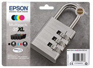Genuine Epson 35XL Padlock 4 Colour Multipack Ink Cartridges, T3596 C13T35964010