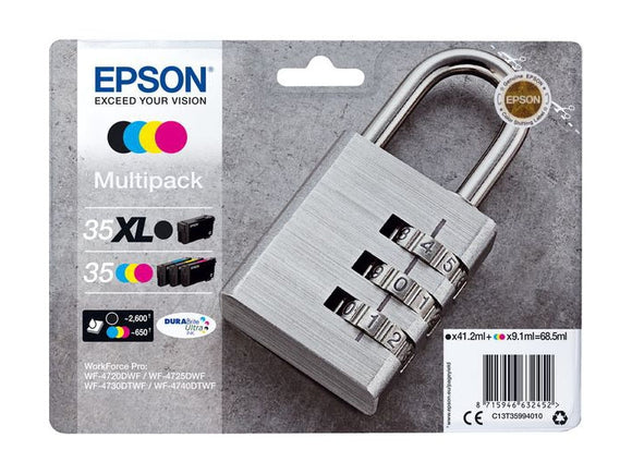 Genuine Epson 35XL Plus 35, Padlock Multipack Ink Cartridges, T3599, C13T35994010