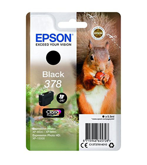 Genuine Epson 378, Black Ink jet Printer Cartridge, T378, C13T37814010