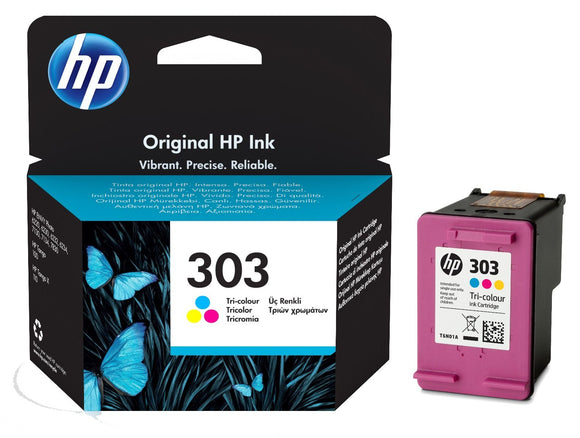 Genuine HP 303 Standard Capacity Tri-Colour Ink Jet Printer Cartridge, T6N01, T6N01AE