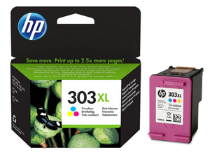 Genuine HP 303XL High Capacity Tri-Colour Ink Jet Printer Cartridge, T6N03, T6N03AE