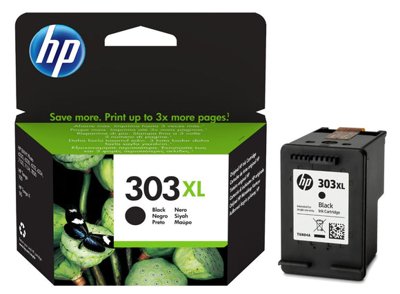 Genuine HP 303XL High Capacity Black Ink Jet Printer Cartridge, T6N04AE, T6N04AE