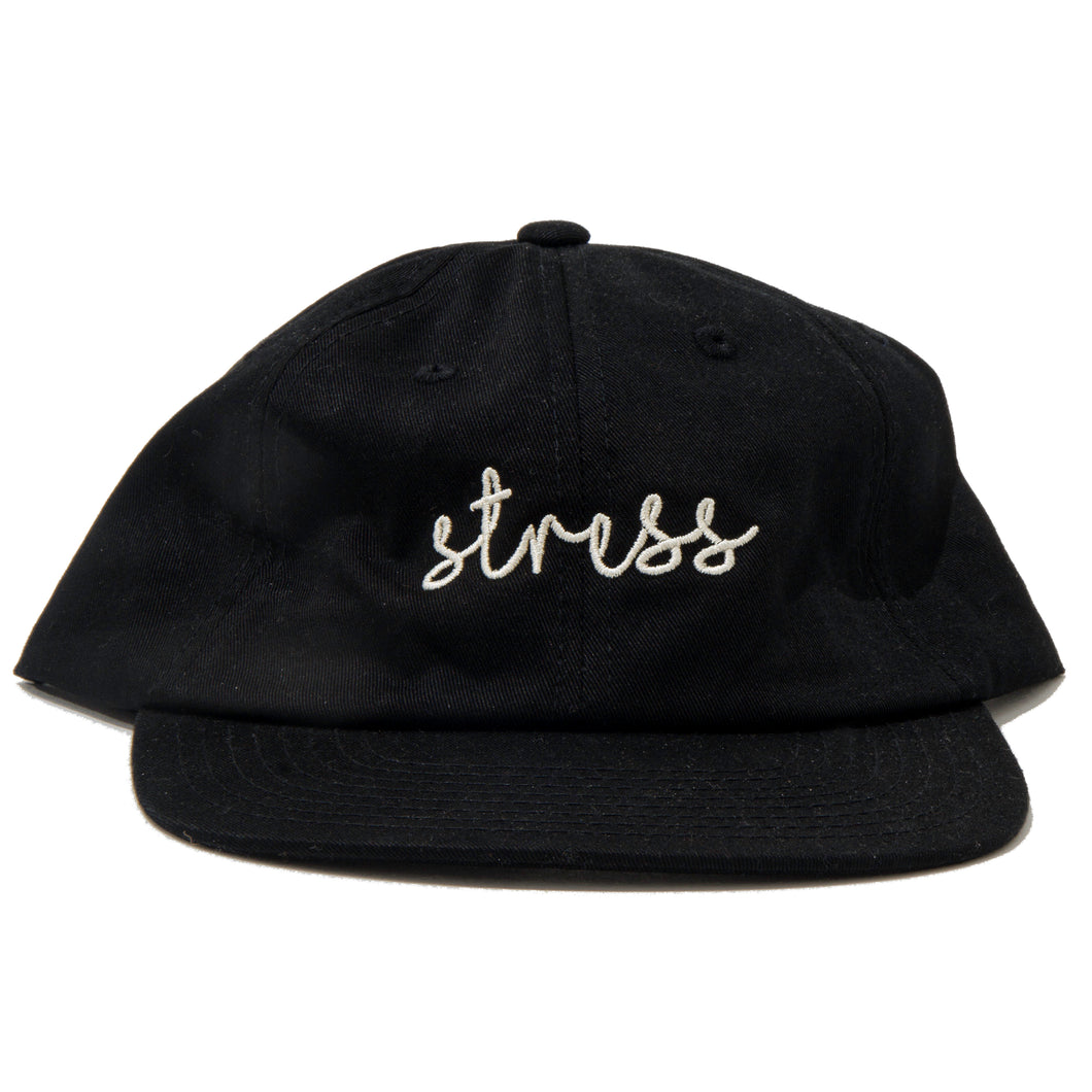 Black 6 Panel Text Hat