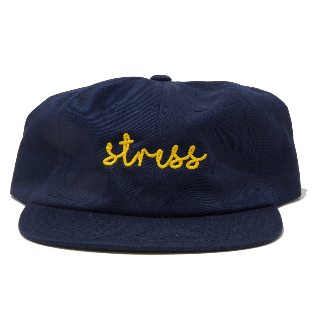 Navy 6 Panel Text Hat