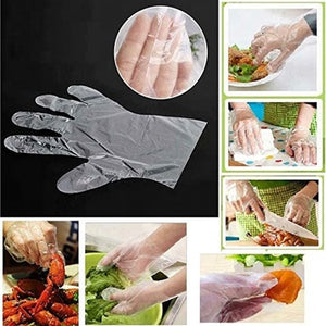 100 pcs Disposable Plastic Gloves, In Stock