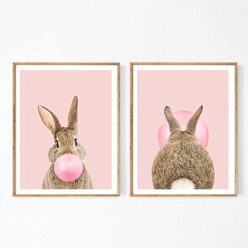 Affiche lapin rose