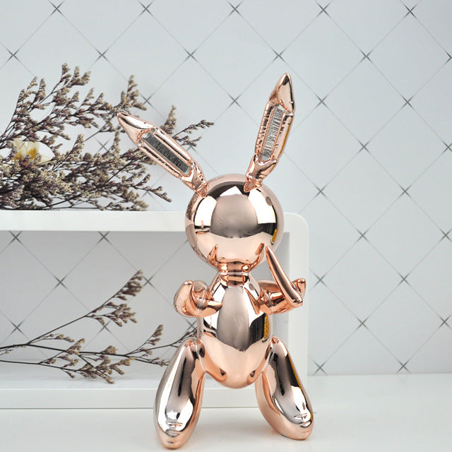 Statue lapin rose gold