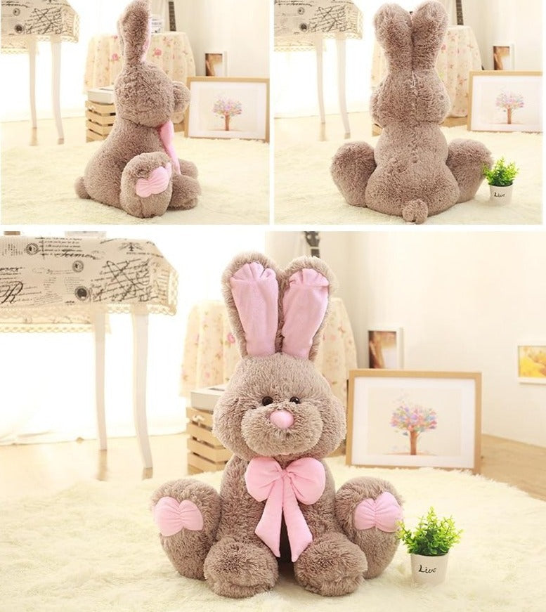 grosse peluche lapin grise