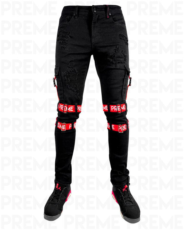 Preme Contractor Red Strapped Black Jean
