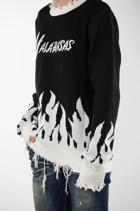"VALABASAS SWEATER ""PLEDGE"" BLACK / WHITE"