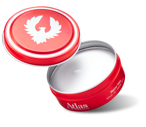 Open Can of Atlas Matte Wax hair styling product for men.