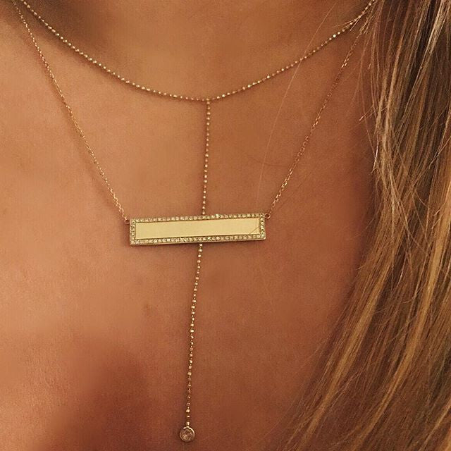 Diamond Navigator Necklace - Custom Engraving
