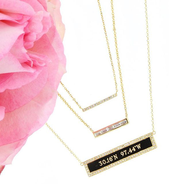 Five Diamond Baguette Bar Necklace
