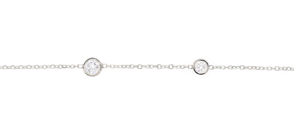 Two Diamond Bezel Station Bracelet