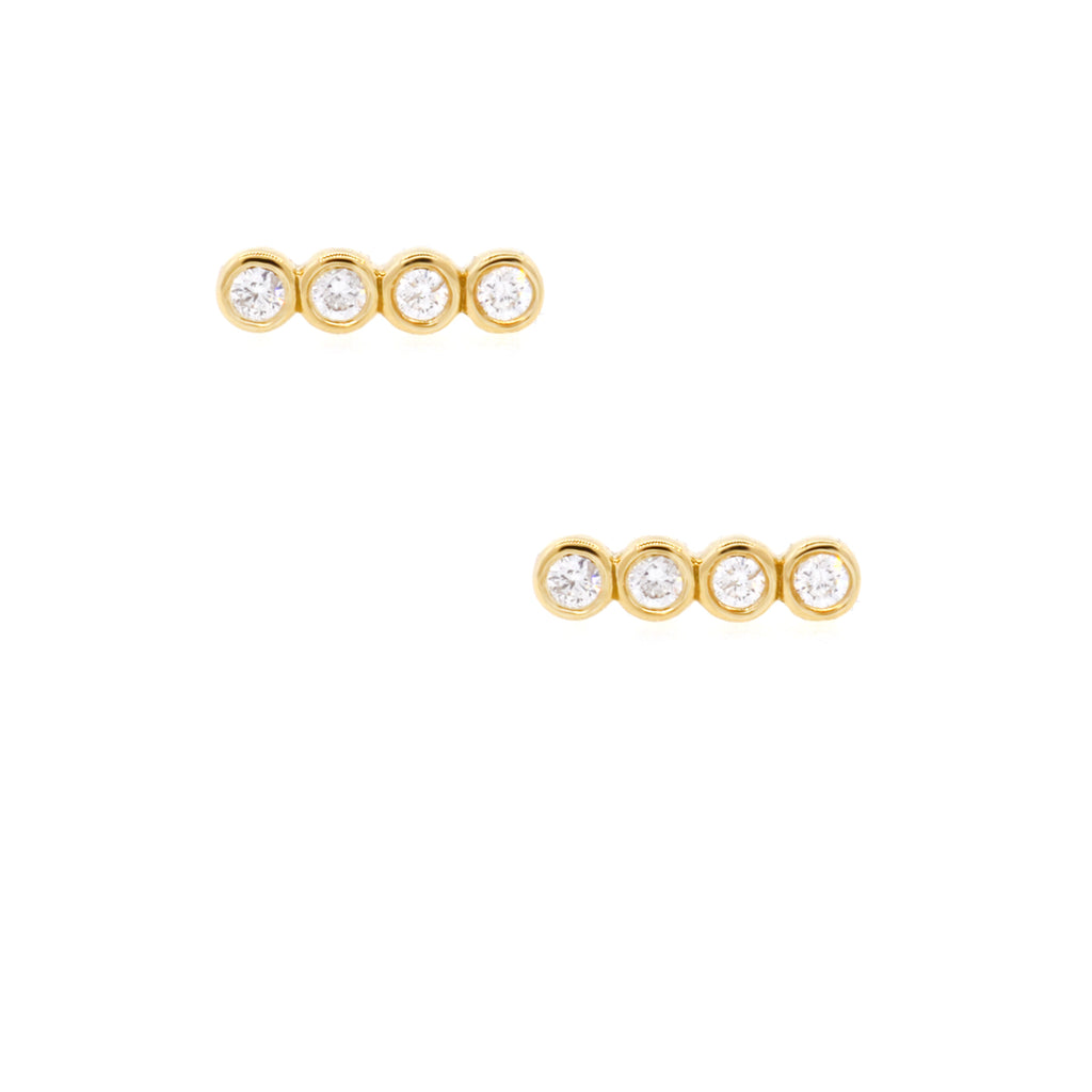 Quad Diamond Bezel Studs