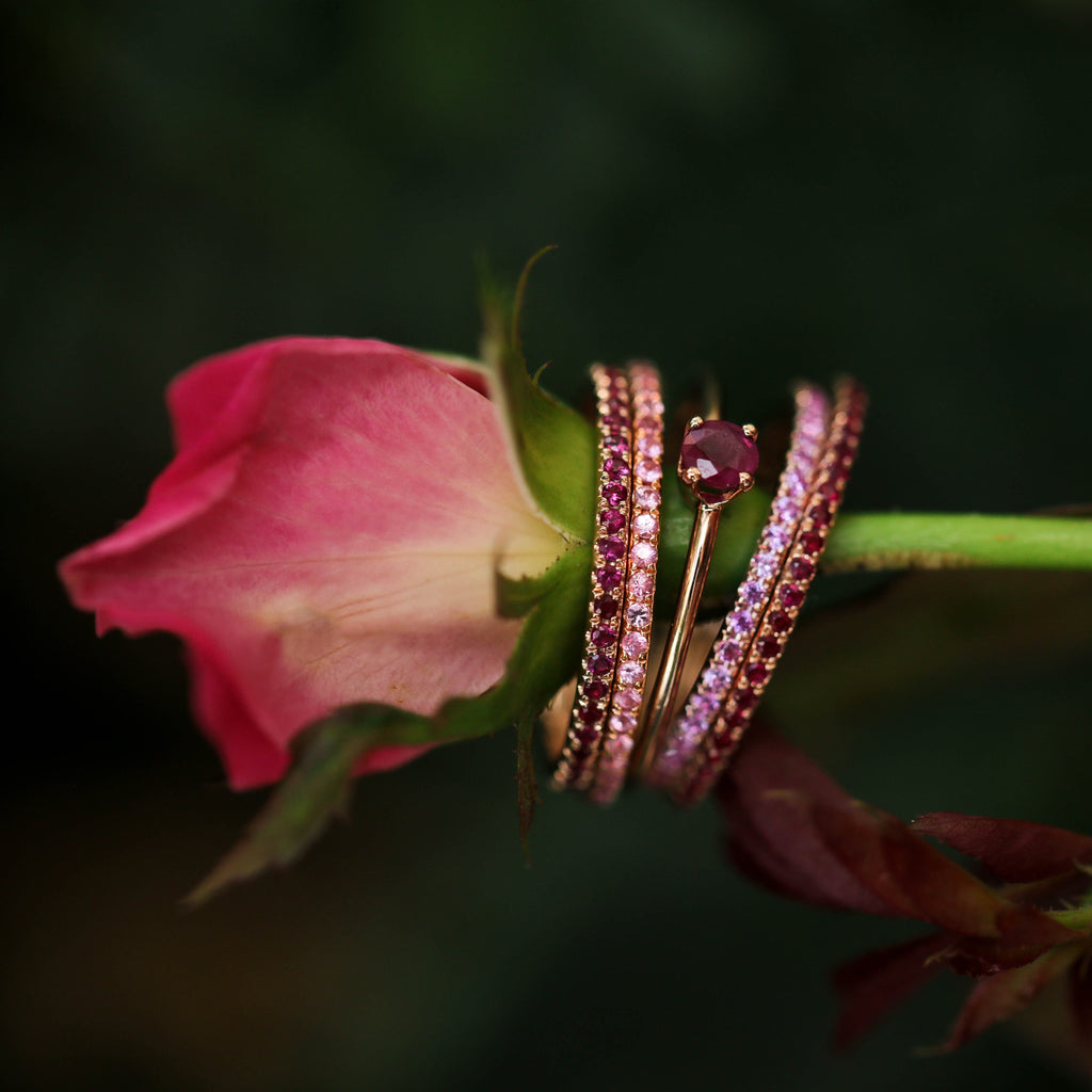 Medium Round Ruby Solitaire Stack Ring
