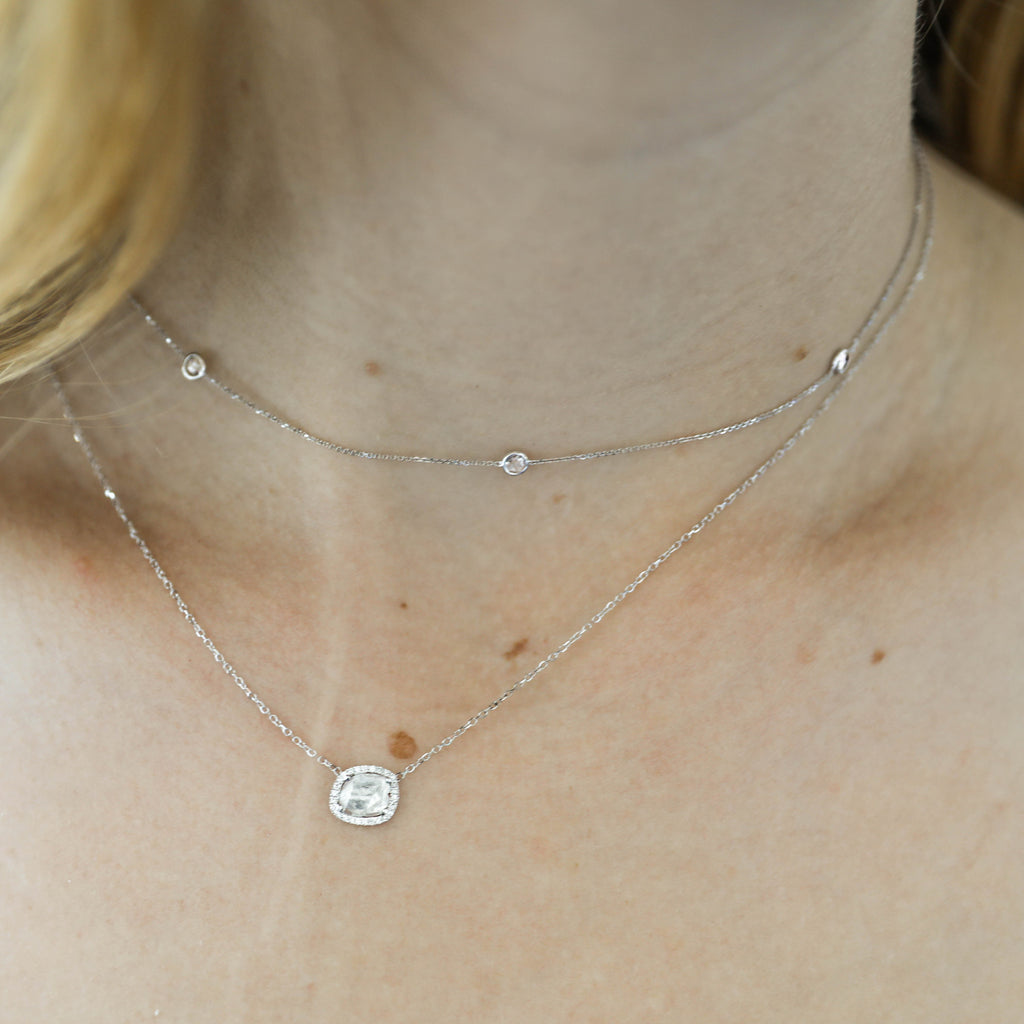Diamond Slice Necklace-White