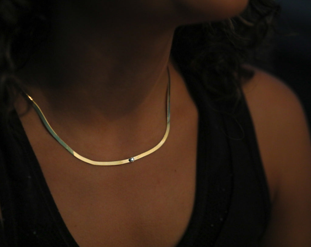 Gold Herringbone Chain Necklace with Diamond