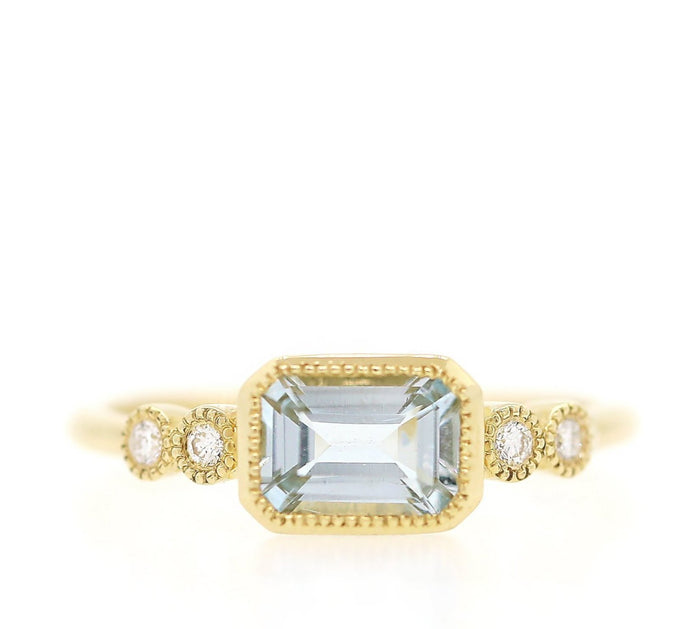 Aquamarine and Diamond Bezel Ring