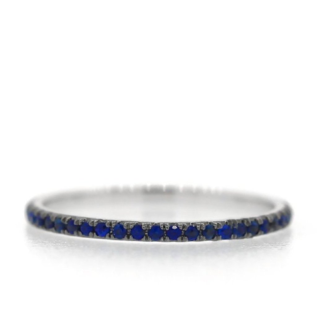 Sapphire Eternity Band - Midnight Blue Rhodium