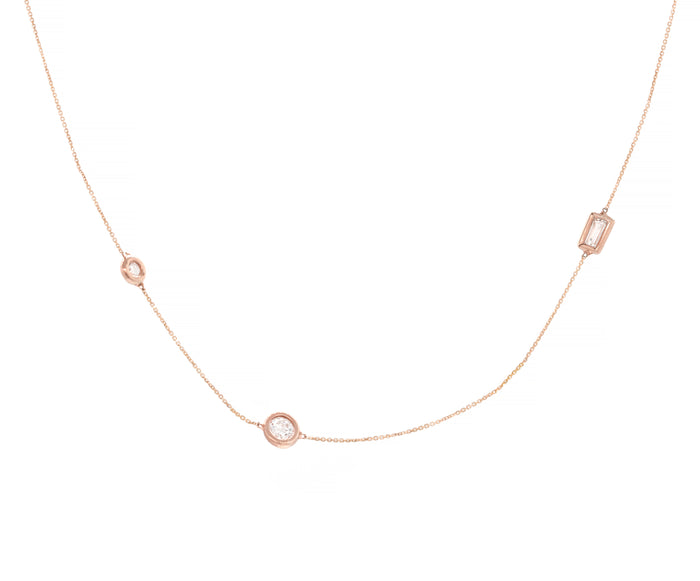 Three Diamond Station Wendy Necklace - Rose