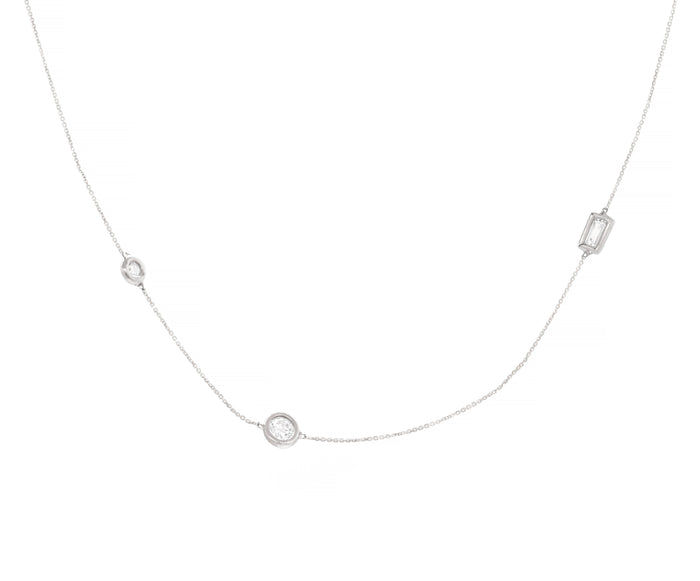 Three Diamond Station Wendy Necklace - White