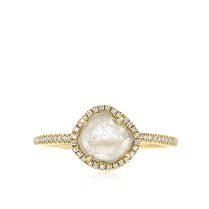 Diamond Slice Ring with Pave Band-Yellow