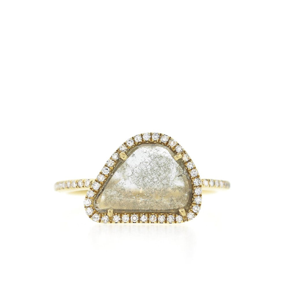 Diamond Slice Ring with Pave Band XL-White