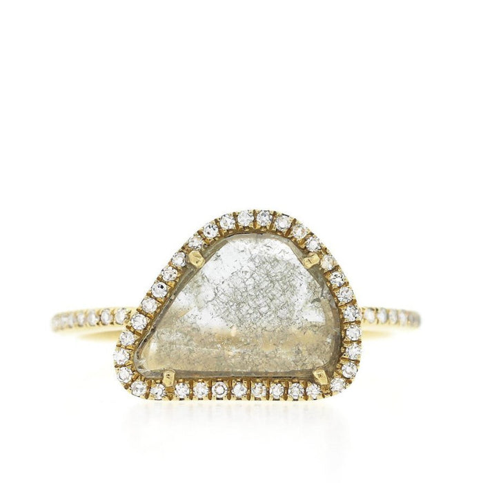 Diamond Slice Ring with Pave Band XL- Yellow Gold