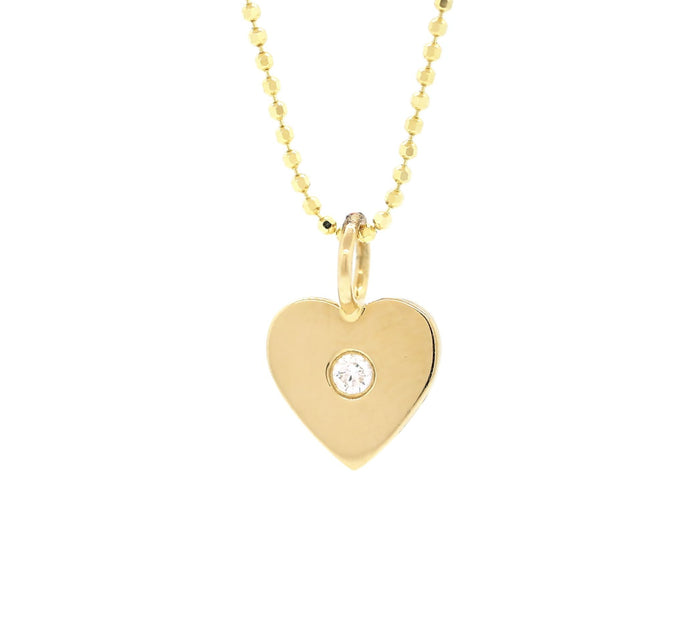 Gold Diamond Solitaire Heart Necklace
