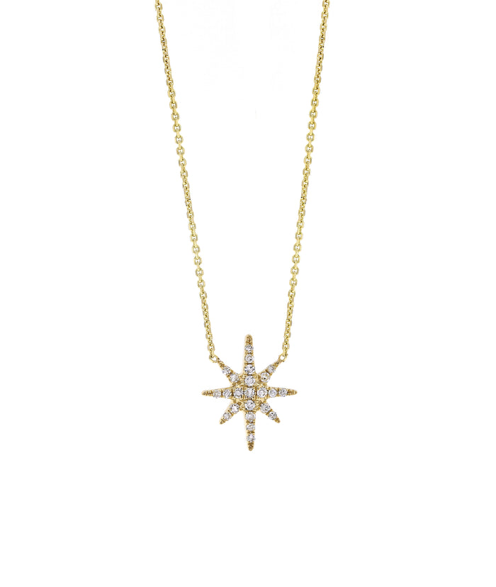 Pave Diamond Starburst Necklace