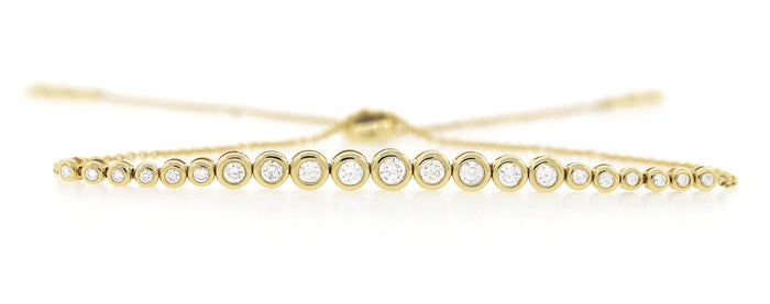 Graduated Bezel Diamond Zipper Bracelet