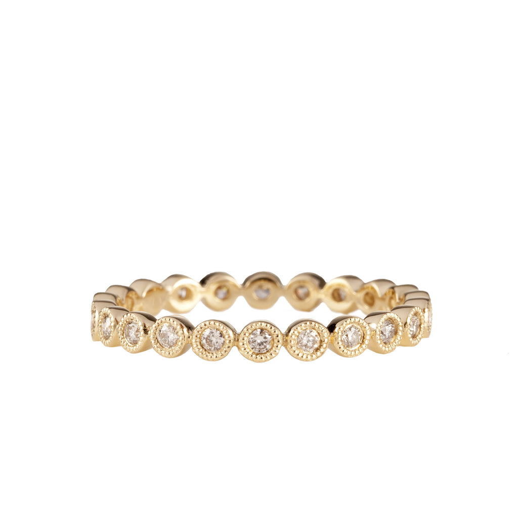 14K Yellow Gold Fancy Bezel Diamond Eternity Ring